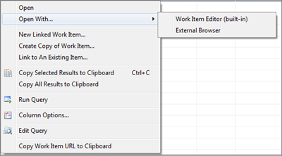 Open With context menu on Work Items