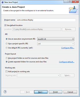 New Java Project dialog in Eclipse