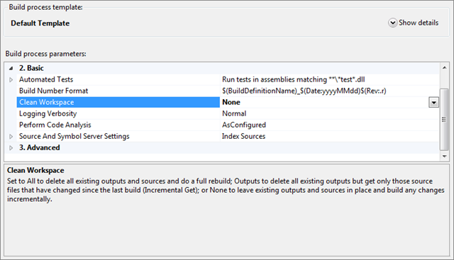 Default Template build process properties shown when editing the build definition in Visual Studio 2010