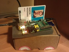 Picture of the Raspberry Pi running TEE against my ID badge for scale