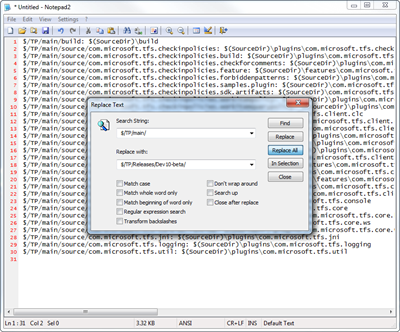 Editing the source folder mappings in Notepad2