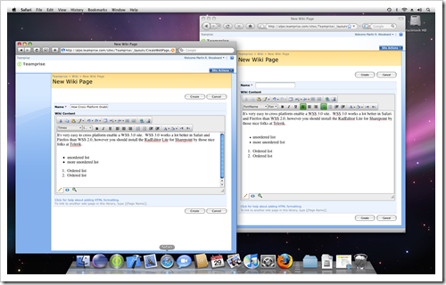 Editing a Sharepoint Wiki page in Safari and Firefox on Mac OS 10.5