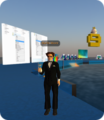 Martin Moore (aka Martin Woodward) on the Microsoft Island in Second Life