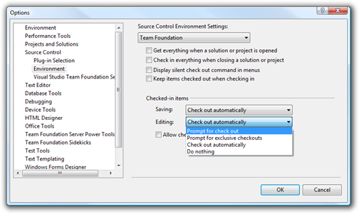 Options dialog of Visual Studio showing Source Control, Environment settings