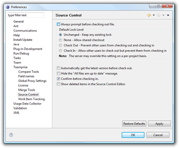 Teamprise Source Control preferences