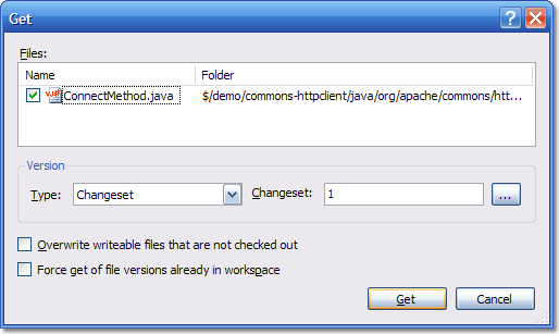 The Get Specific Dialog with changeset 1 inside.