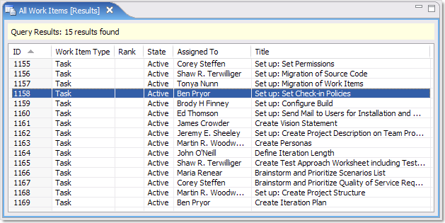 Work item query view in Teamprise