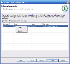 A screen shot showing the merge wizard in Teamprise 2.0