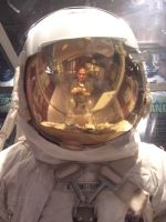 Me in the reflection of Neil Armstrongs space suit.