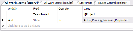 An example of using the IN statement in Visual Studio 2005 Work Item Query Editor