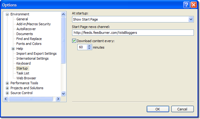 Screen shot showing how to customize the news displayed in the Visual Studio 2005 Start Page.