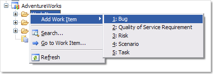 Context menu for Work Items